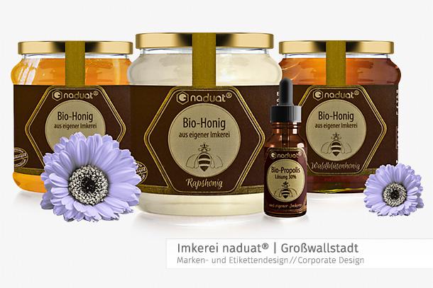 Etikettendesign Honiggläser