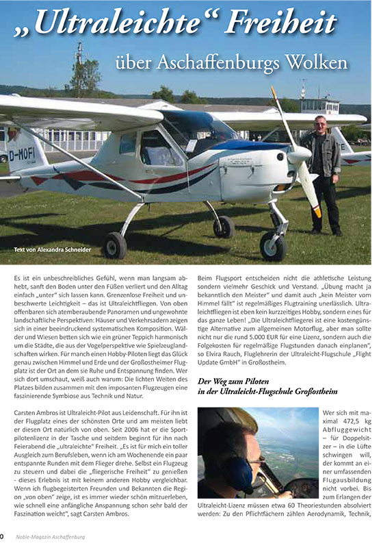 Redaktioneller Beitrag: Ultraleicht-Fliegen